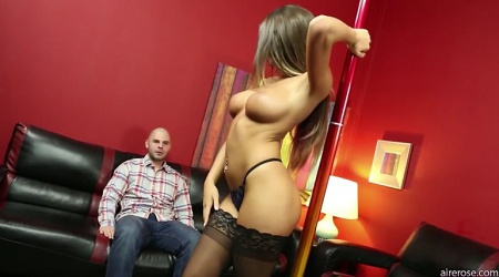 August Ames dances for her client