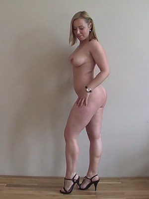 Nude girl wearing high heels