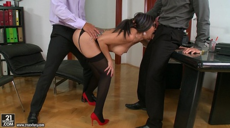 Boss with a friend fucked the secretary