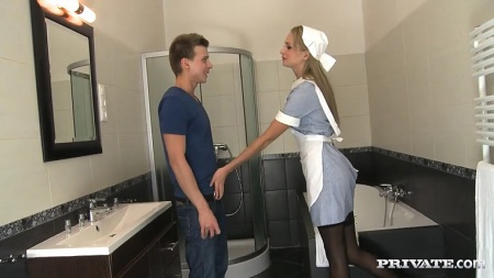 Nurse Ivana Sugar helps patient in sperm bank