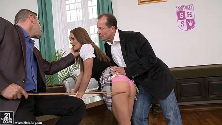 Young student Dominica Fox punished by teacher and director
