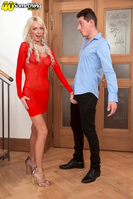 Hot Granny Alexis Starr in a red dress fucked young guy