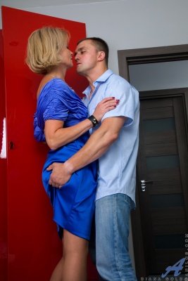 Mature blonde milf Diana Gold is undressed and banged by her young neighbor